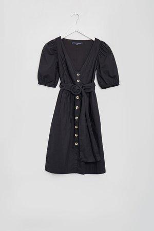 Besima Poplin Button Through Belted Dress