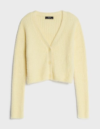 Lightweight cardigan with buttons - Sweaters and Cardigans - Woman | Bershka yellow
