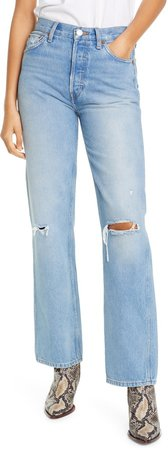 '90s Ripped High Waist Loose Straight Leg Jeans