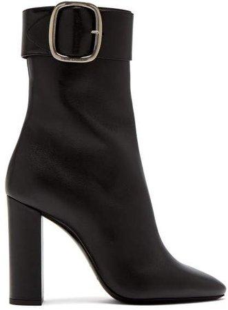 Joplin Leather Buckle Ankle Boots - Womens - Black