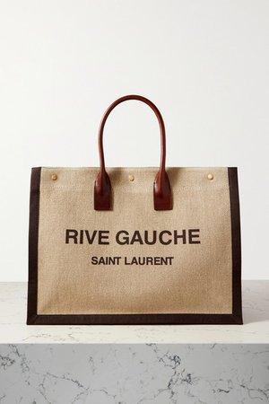 Noe Leather-trimmed Printed Linen-canvas Tote - Brown