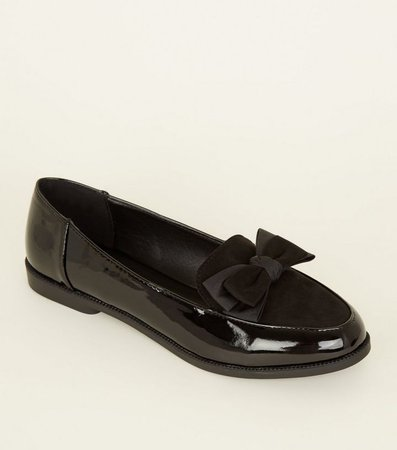 Black Patent and Suedette Bow Front Loafers | New Look