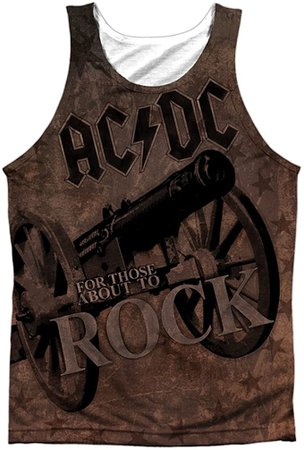 Amazon.com: AC/DC We Salute You Sublimation Tank Top (Front & Back), Small White: Clothing