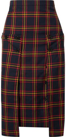 Pleated Chiffon-paneled Checked Twill Skirt - Navy