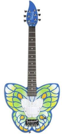 blue green yellow daisy rock butterfly guitar