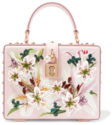 Lilium Embellished Floral-print Textured-leather Tote - Pink