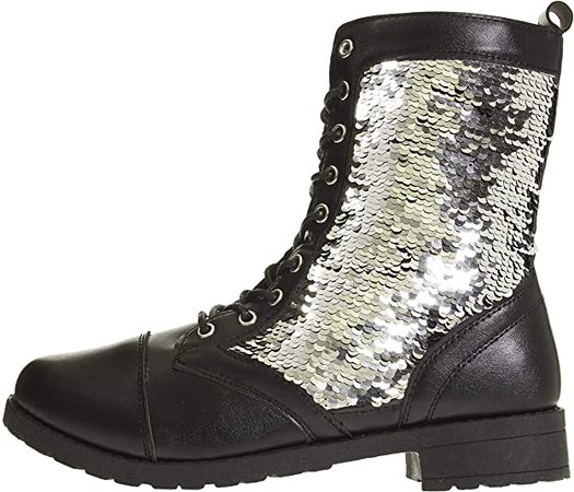 Amazon.com | Women's Smooth PU Combat Boots Size 8 with Flip Sequin Lace-Up Fashion Shoes Black/Silver | Shoes