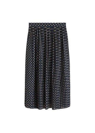 MANGO Polka-dot pleated skirt