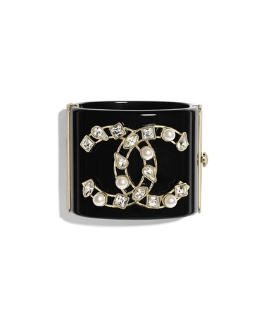 Cuff, resin, glass pearls, diamanté & metal, black, pearly white, crystal & gold - CHANEL