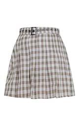 Stone Woven Check Belted Skater Skirt | PrettyLittleThing USA