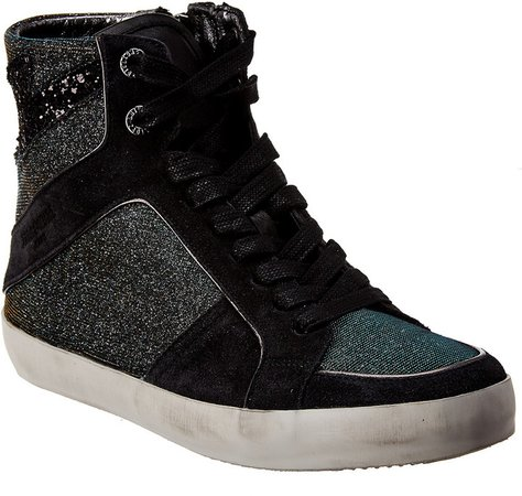 High Top Leather And Textile Sneakers