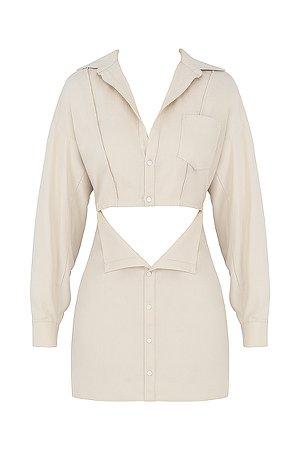 Clothing : Mini Dresses : 'Julietta' Beige Linen Cutout Shirt Dress