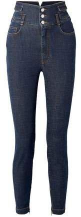 Crystal-embellished High-rise Skinny Jeans