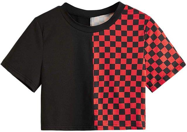 SweatyRocks Women's Short Sleeve Round Neck Colorblock Stripe Tee Shirt Crop Top at Amazon Women's Clothing store