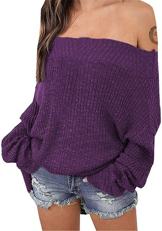 Exlura Women's Off Shoulder Sweater Batwing Sleeve Loose Oversized Pullover Knit Jumper at Amazon Women's Clothing store