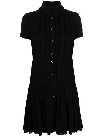 Chanel Pre-Owned stand-up Collar Pleated Dress - Farfetch