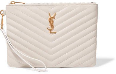 Monogramme Quilted Leather Pouch - Cream