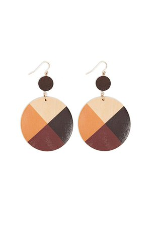 Wooden Geo Colorblock Drop Earrings | Forever 21