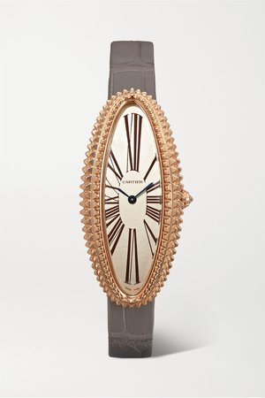 Rose gold Baignoire Allongée 47mm medium 18-karat rose gold, alligator and diamond watch | Cartier | NET-A-PORTER