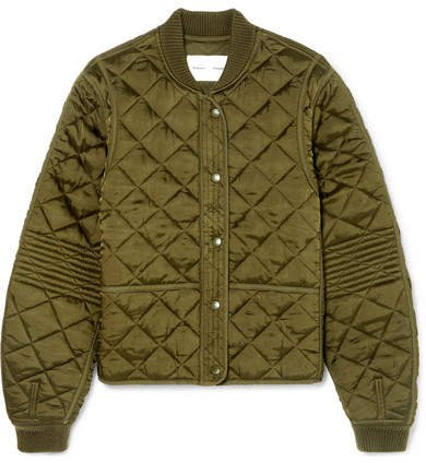 Pswl Quilted Satin Bomber Jacket - Army green
