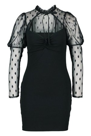 Dobby Mesh Puff Sleeve Mini Dress | boohoo