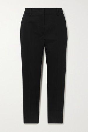 Calcut Cropped Stretch-cotton Straight-leg Pants - Black