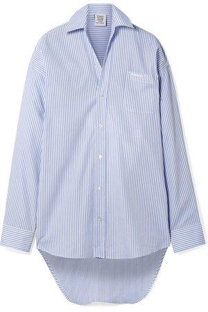 Vetements | Oversized embroidered striped cotton-poplin shirt | NET-A-PORTER.COM