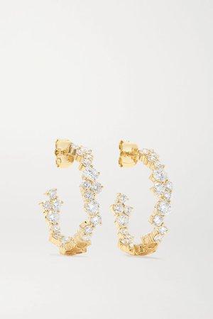 Gold Large 14-karat gold diamond hoop earrings | Sydney Evan | NET-A-PORTER