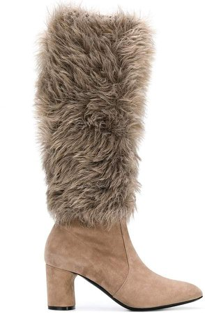 faux fur under-the-knee boots