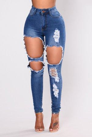 Catty Distressed Skinny Jeans - Medium Wash