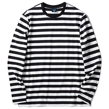 Zengjo Men's Casual Cotton Spandex Striped Crewneck Long-Sleeve T-Shirt Basic Pullover Stripe tee Shirt (XXL, Black&White Wide) | Amazon.com