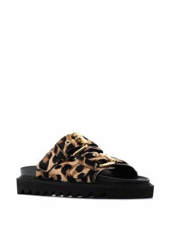 Moschino leopard-print Flat Sandals - Farfetch