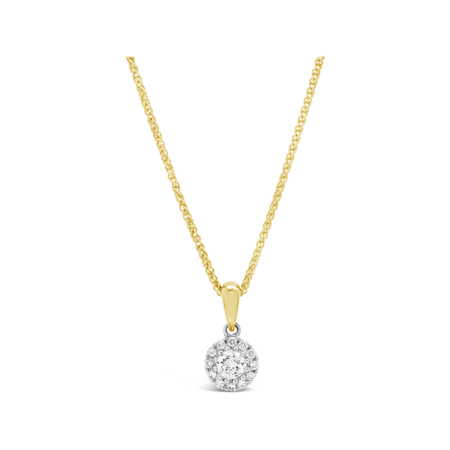 18K Yellow and white gold diamond cluster pendant