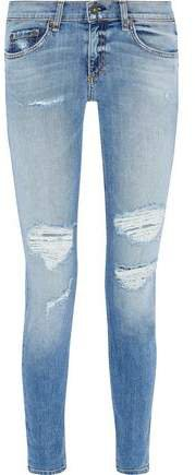 Dre Distressed Low-rise Skinny Jeans