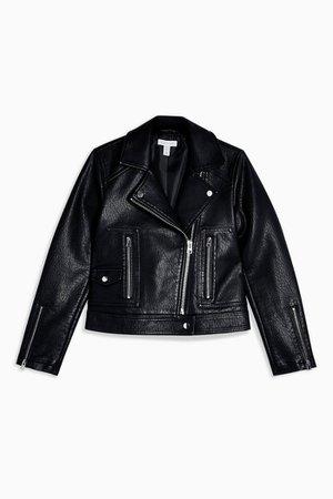 PETITE Black Faux Leather Biker Jacket | Topshop