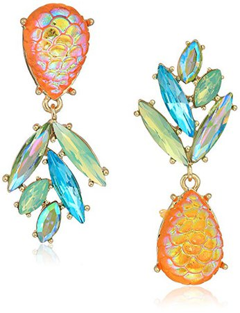 "Betsey Johnson ""Paradise Lost"" Women's Pineapple Mismatch Drop Earrings, Yellow, One Size: Jewelry"