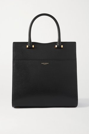 Uptown Small Textured-leather Tote - Black