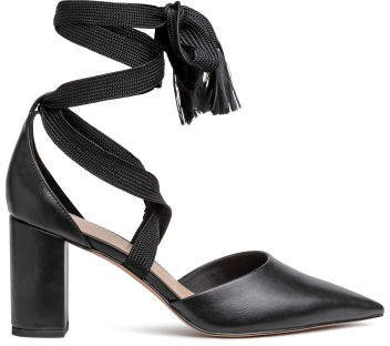 Court shoes with ties - Black
