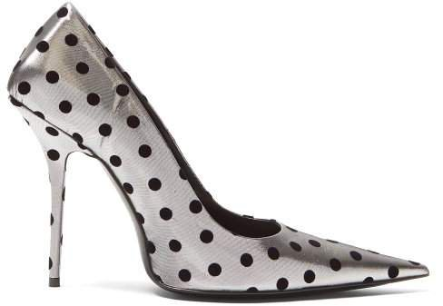 Square Knife Point Toe Pumps - Womens - Black Silver