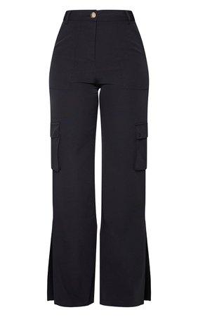 Stone Woven Split Hem Cargo Trousers | PrettyLittleThing
