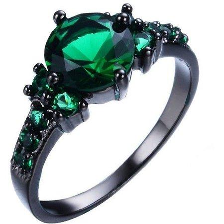 Emerald & Black Diamond Wedding Ring