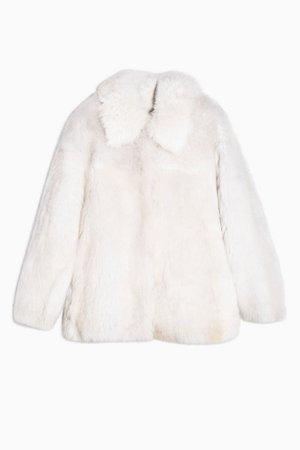 Cream Soft Shearling Coat | Topshop white