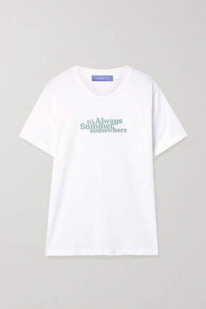 Paradised - Printed Cotton-jersey T-shirt - White