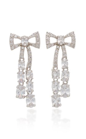 Silver-Tone Crystal Bow Earrings by FALLON   Moda Operandi