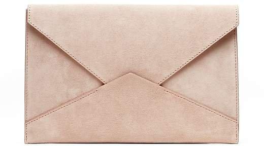 Italian Suede Expandable Envelope Clutch
