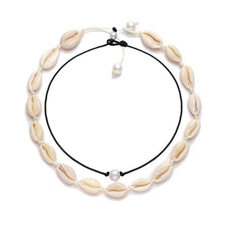 Amazon.com: VUJANTIRY Cowrie Shell Choker Necklace for Women Hawaiian Seashell Pearls Choker Necklace Statement Adjustable Cord Necklace Set (Shell & Pearls Choker #2): Gateway