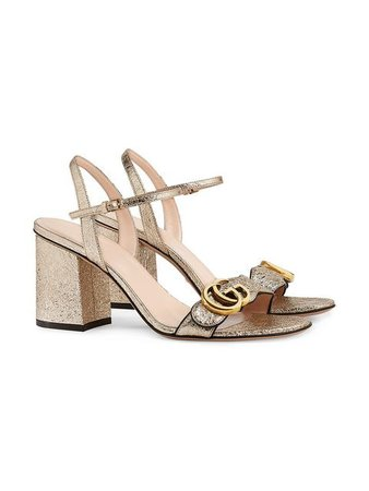 Gucci Metallic Laminate Leather mid-heel Sandal - Farfetch