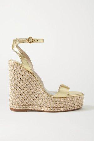 Lucita Metallic Leather Espadrille Wedge Sandals - Gold