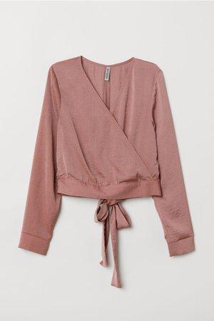 Blouse with Ties - Vintage pink - | H&M US