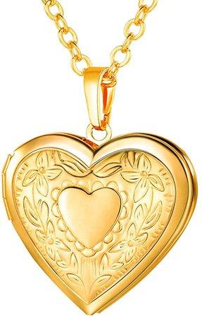 "Amazon.com: U7 Women Girls 18K Gold Plated Heart Photo Locket Pendant Necklace, 22"" Chain: Clothing"